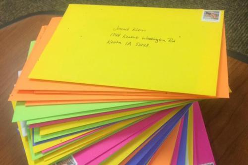 Colorful stack of letters to representatives